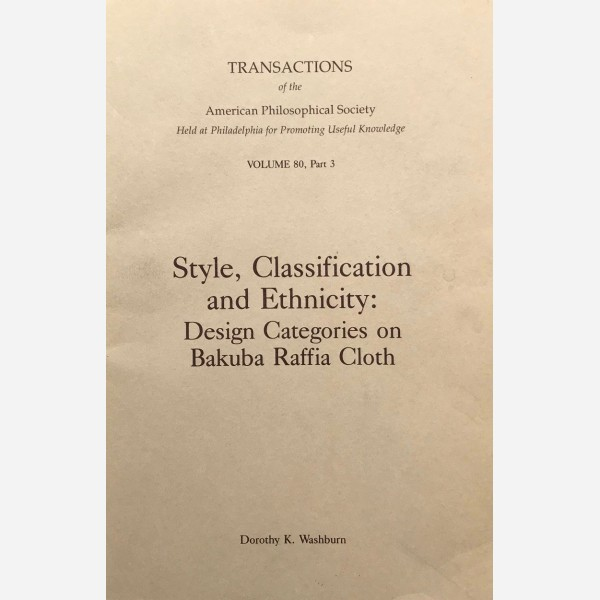 Style, Classification and Ethnicity : Design Categories on Bakuba Raffia Cloth
